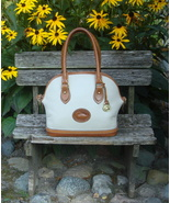 Vintage Dooney & Bourke Norfolk AWL Ivory/Brown Leather Satchel Bag USA