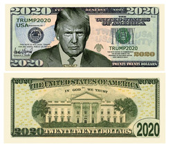 Pack of 25 - Donald Trump 2020 Presidential Re-Election Dollar Bill Serious - $9.85
