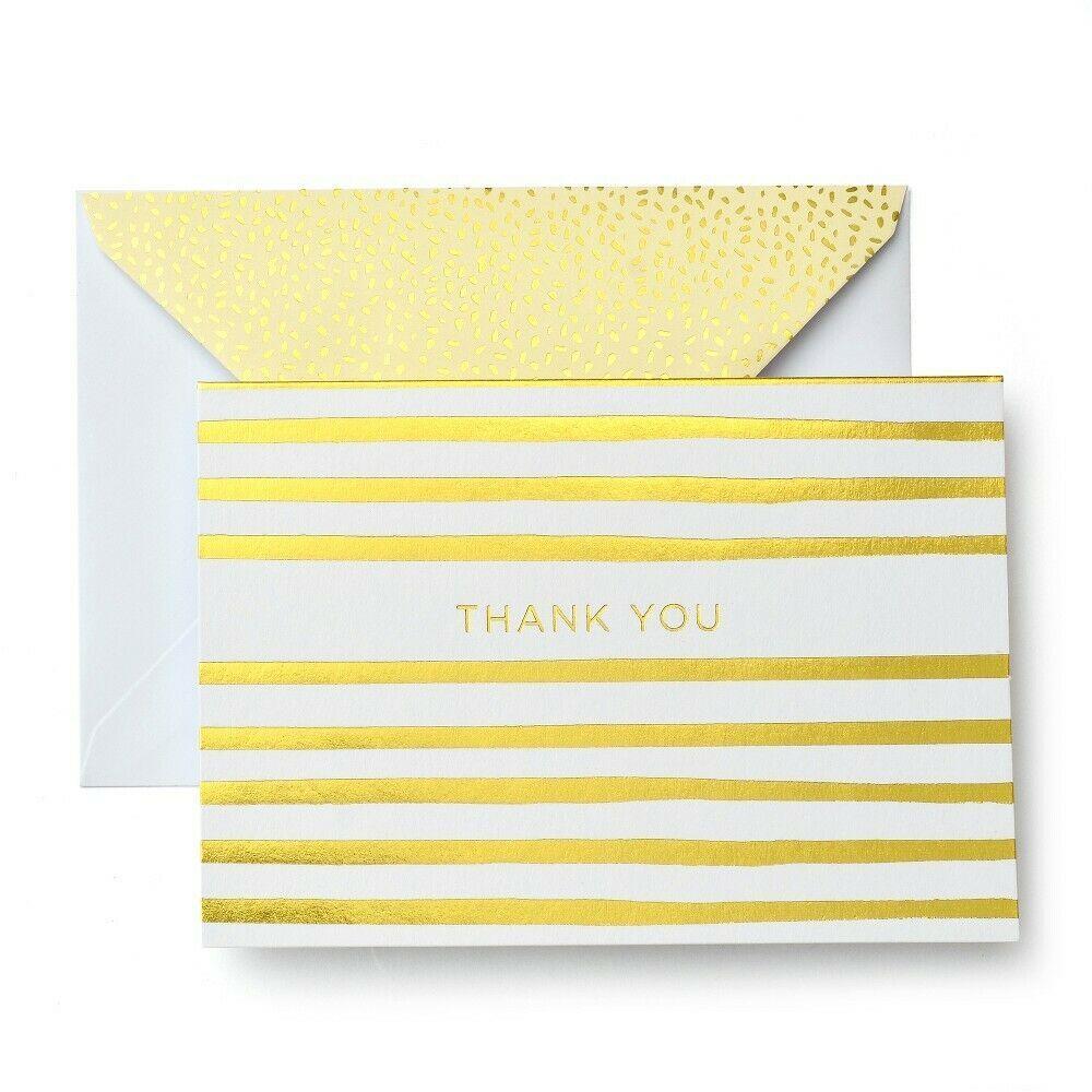 "MARA MI ""Thank You"" Cards; 10 Ct, White & Gold With Envelopes NEW"
