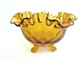 Vintage Fenton  Art Glass Amber Diamond Optic Threaded Bowl Footed Ruffl... - $34.65
