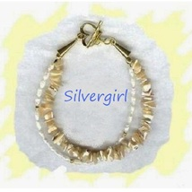 Mother of Pearl Gemstone Chip Bracelet Lobster Clasp - $19.99