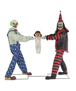 Creepy ANIMATED TUG OF WAR CLOWNS with KID Red Black Halloween Prop Deco... - $341.80