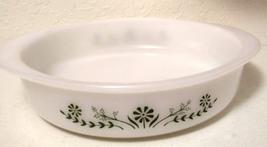 Glassbake Green Daisy Flower Milk White 8 inch Round Cake Pan Casserole Pyrex - $24.99