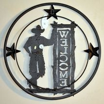 """Country Western Cowboy Ranch Farm Rustic Metal Wall Welcome Sign 17.75"""" image 4"""