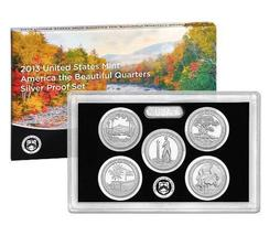 2013 U.S. MINT AMERICA THE BEAUTIFUL 5 COIN SILVER PROOF QUARTER SET W/COA - $47.20