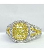 GIA Certified 1.86 Ct Cushion Yellow Diamond Engagement Ring 18k White Gold - $5,345.01