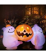 6FT Inflatable Halloween Two Cute Ghost With Pumpkin LED Lights Decorati... - $31.51