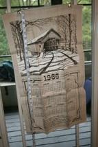 Vintage 1966 Linen Cloth Hanging Towel Calendar Covered Bridge Brown Sep... - $36.27