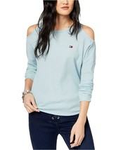 Tommy Hilfiger Women's Sport Cold-Shoulder Waffle-Knit Top XS Sea - $34.99