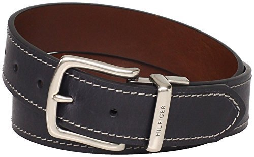 Tommy Hilfiger Men's Contrast Stitching Jean Belt,Black/Brown,30