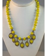 """New 19"""" - 20"""" Necklace With Yellow Crackle, Yellow Crystal & Yellow Opaq... - $30.00"""