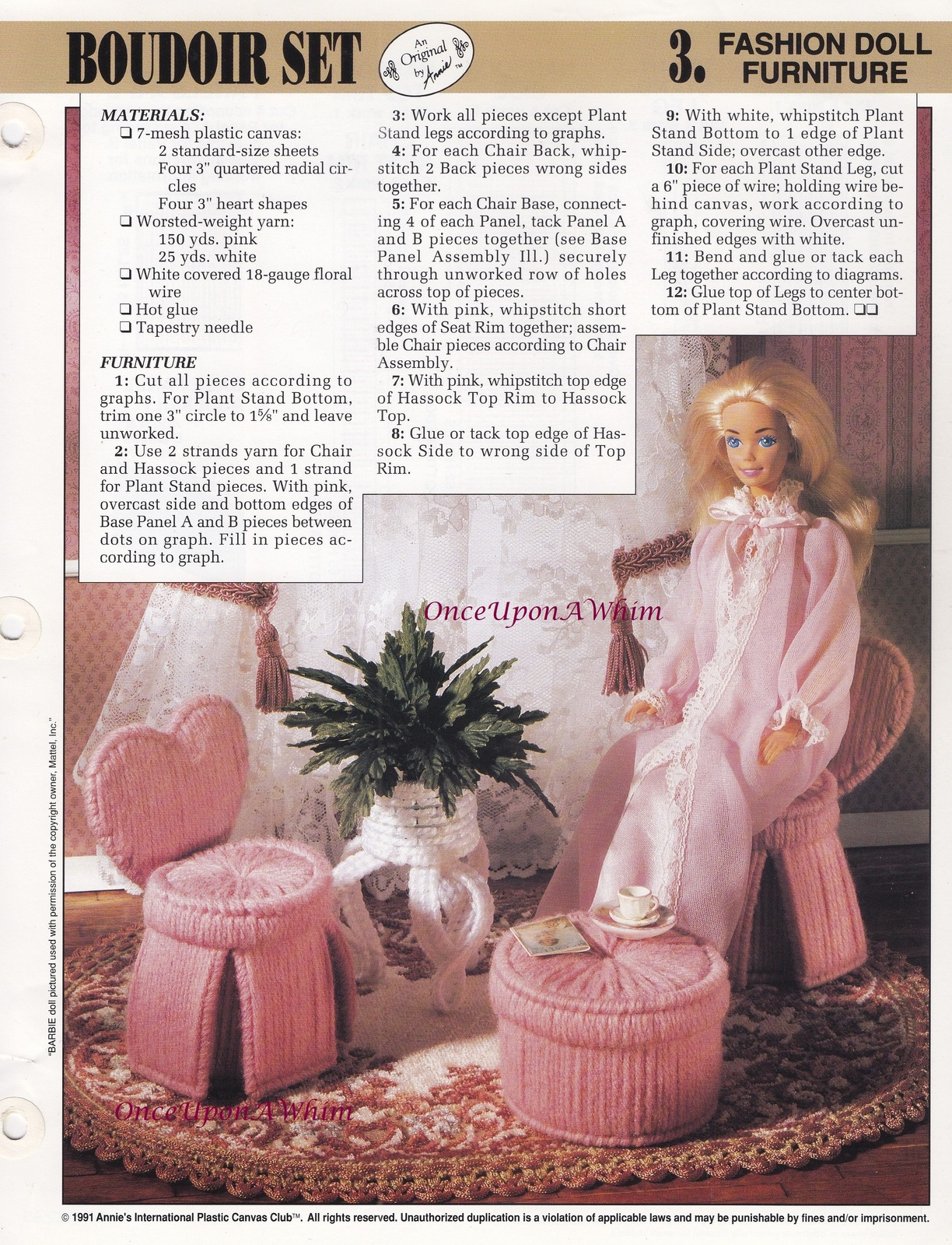Primary image for Boudoir Set, Annie's Fashion Doll Furniture Plastic Canvas Pattern Leaflet 4-P-2