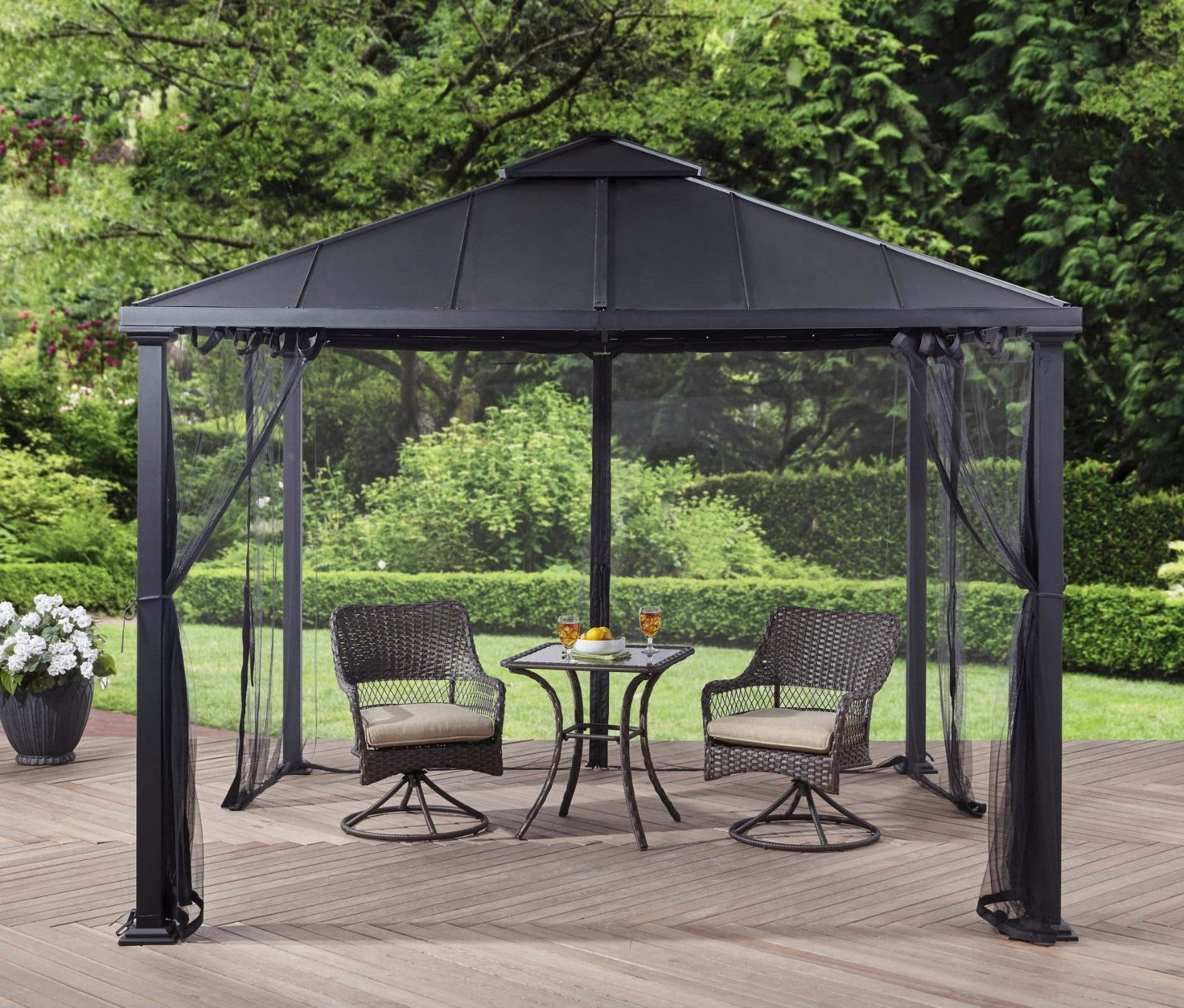 Metal roof gazebo with netting hard top pergola canopy 10 - Small gazebo with netting ...