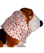 Beige Brown Red Hearts Paws Bones Cotton Dog Snood by Howlin Hounds Size... - $11.50