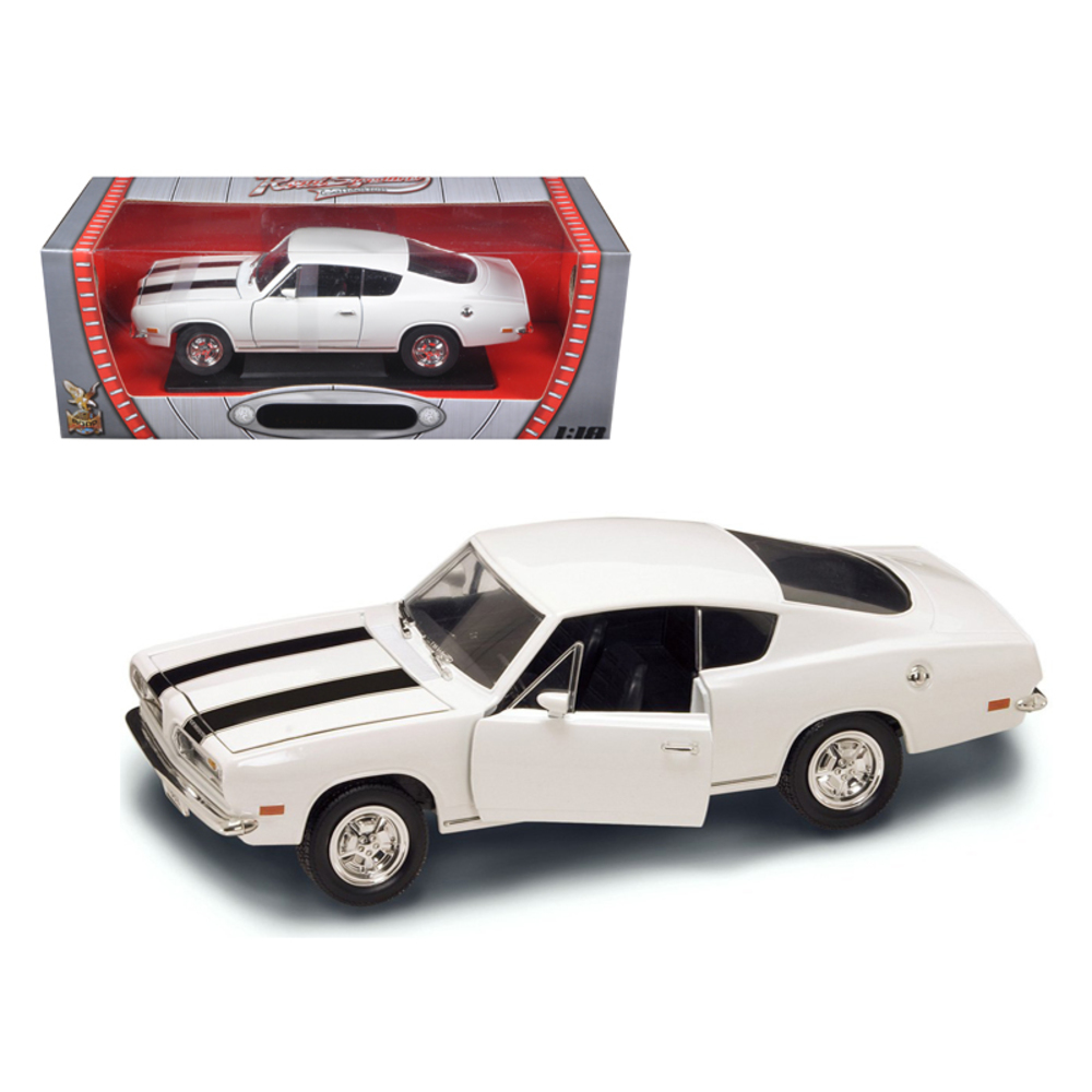 1969 Plymouth Barracuda 383 White 1/18 Diecast Car By Road