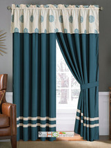 4-Pc Circle Orb Sphere Floral Embroidery Curtain Set Spruce Blue Beige Valance - $40.89