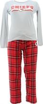 NFL Women's Pajama Set Long Slv Top Flannel Pants Chiefs XXXL NEW A387687 - $25.72