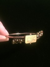 Antique Victorian Suffragette hinged bangle bracelet with seed pearl and garnet image 3