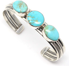 L7 Trading Sterling Silver Three Stone Turquoise Bracelet by Tina Benally - $585.84