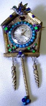 One of a kind antique Festina 18k gold,enamel,turquoise&pearls brooch clock - $4,900.00