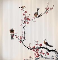 Cherry Blossom Birds Fabric Shower Curtain Tree Flower Nature Bath Decor... - $39.19