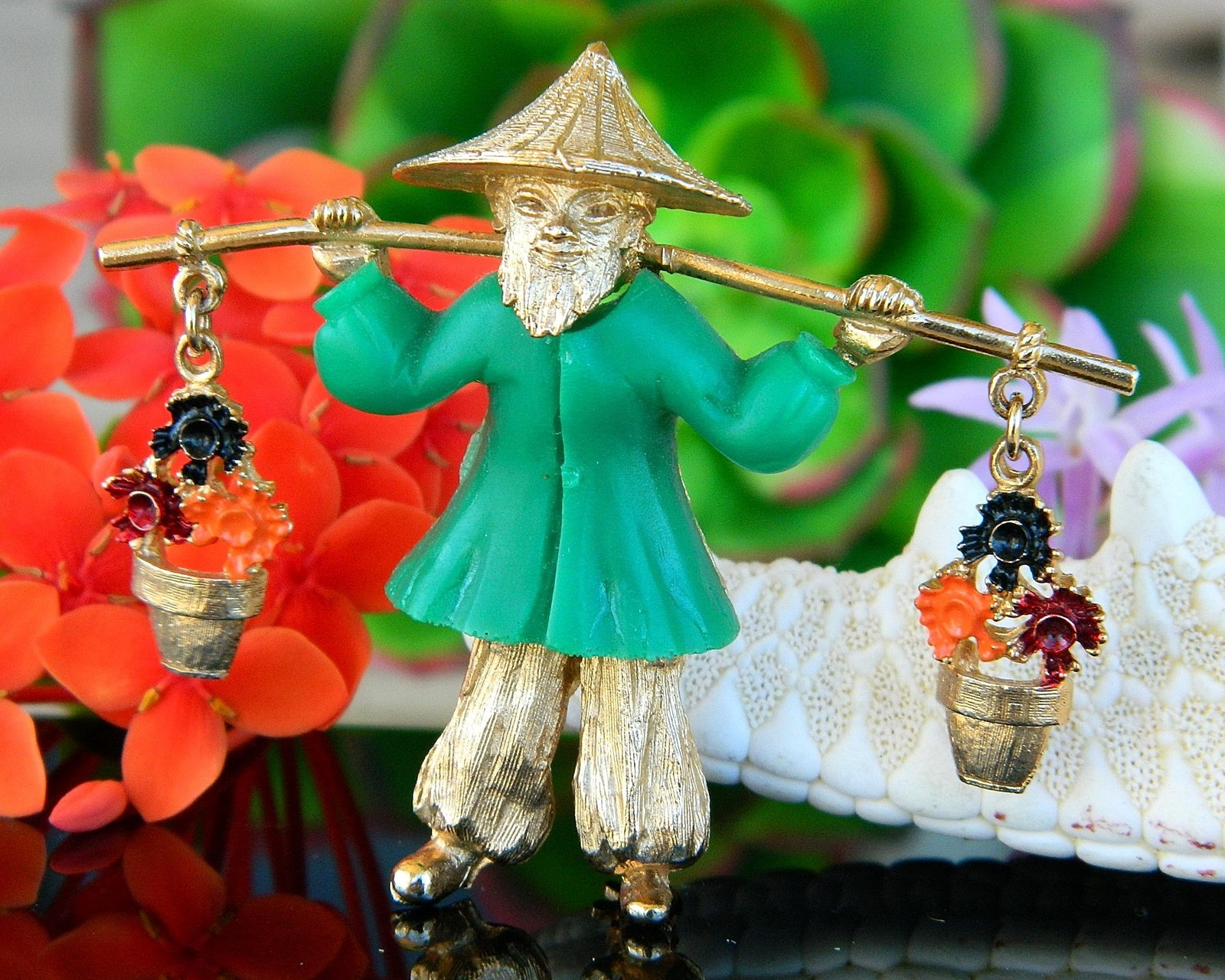 Primary image for Vintage Asian Oriental Chinese Man Carrying Flower Pots Brooch Pin
