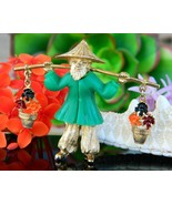 Vintage Asian Oriental Chinese Man Carrying Flower Pots Brooch Pin - $34.95