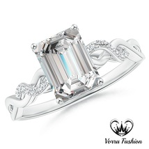 14k White Gold Plated 925 Silver Rectangular Shape CZ Infinity Style Womens Ring - $74.95