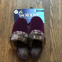 Isotoner Signature Purple Slip On Mule Faux Fur Memory Foam Slippers 7.5-8 - $18.80