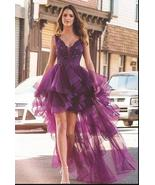 Elegant Purple Lace High Low Homecoming Dress With Appliqued Fashion Wom... - $145.33