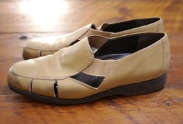 EASY SPIRIT Khaki Leather Slip On Comfort Mary Janes Sandals Womens 7B 37.5 - $24.99