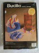 NEW Bucilla Plastic Canvas Tropical Fish Coaster Set 7 pc Set 6099 NIP - $15.99