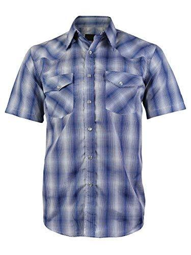 LW Men's Western Cowboy Pearl Snap Short Sleeve Rodeo Dress Shirt LW126S (2XL, 1