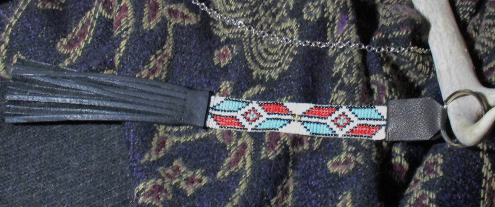 American Made! No.1 Red Black Turquoise White Gold Glass Bead Keychain with frin