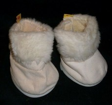 Construction bear pair of white fuzzy boots for your babw padded - $6.79
