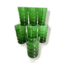 "Set of 7 Vintage Anchor Hocking 1940s Green Glass Ribbed Tumblers 4.75"" ... - $27.71"
