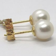 YELLOW GOLD EARRINGS 750 18K, WHITE PEARLS, FRESHWATER, POLE image 4