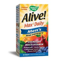 Nature's Way Alive! Max3 Daily Men's Multivitamin, Food-Based Blends 1,130mg per