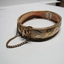 Vintage Gilded Gold on Brass Cuff Bangle Bracelet Engraved Flowers & Scr... - $25.74