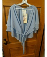 Alfred Angelo Size 10 Cornflower Blue Shawl Cover Up Chiffon Light Weigh... - $29.97