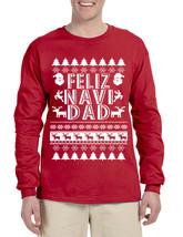 Men's Long Sleeve Feliz Navidad Ugly Xmas Holiday Gift Cute Tee - $19.94+