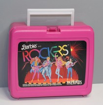 Vintage 1987 Barbie and The Rockers Thermos Lunch Box Hot Pink Mattel Pl... - $12.38