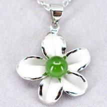 Storrs Genuine Jade Veritable Forget Me Not Flower Pendant Silver Tone Necklace image 2