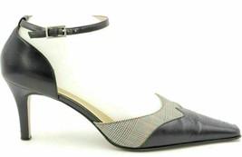 Anne Klein Women Strappy Heels Size US 7.5M Black Leather Ankle Strap - $26.39