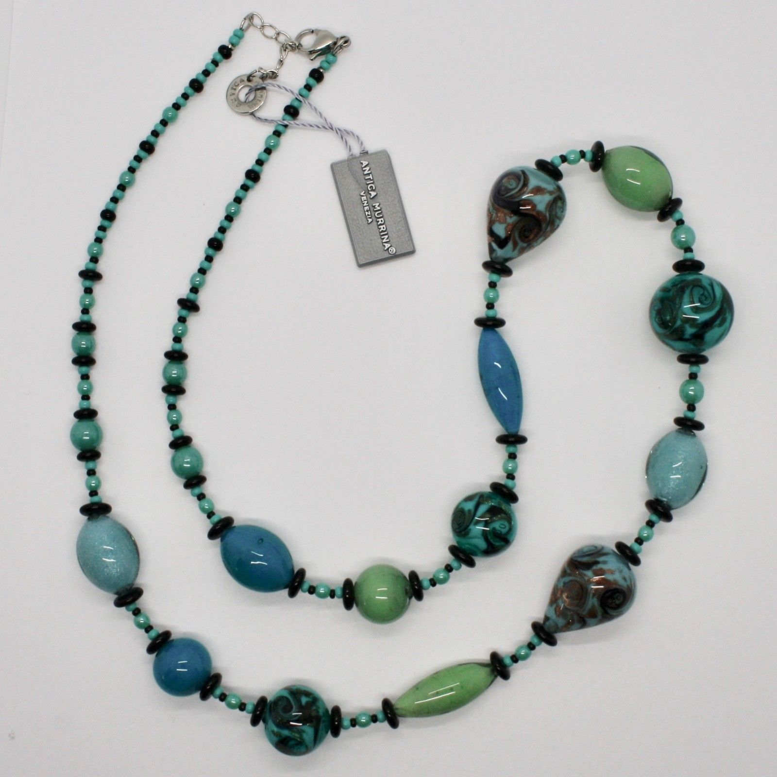 ANTICA MURRINA VENEZIA NECKLACE WITH MURANO GLASS GREEN BLACK TURQUOISE COA88A59