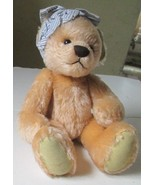 Vintage Mohair jointed TEDDY BEAR w/plaid head ribbon, no tags - $19.99