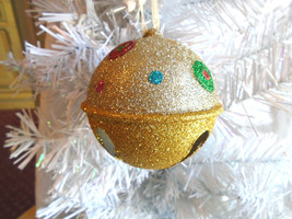 Christmas Tree Ornament Gold Two-Tone Metal Colorful Glitter Bell - $8.99