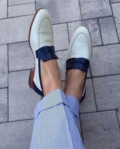 Handmade Men's White & Blue Slip Ons Loafer Leather Shoes image 4