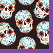 Day of the Dead Halloween Skull 16 Ct Beverage Napkins - £2.15 GBP