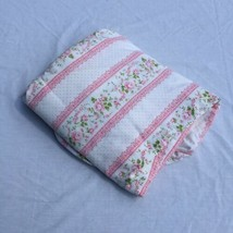 White with Pink Roses Full Fitted Sheet Canon Featherlite  - $14.50